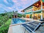 Soak up the sun on a sun loungers or enjoy the shade of the Thai-style sala.