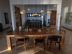 Large dining tables comfortably seats 8