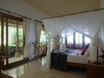 Second bedroom with adjacent great terrace with ocean views