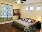Master bedroom with comfortable king bed/TV/Sat/Chromecast