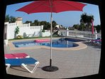 spacious terrace and pool area