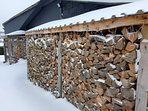 free wood on site for fires, wood burning hot tub and real fire