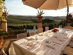 Enjoy yur private dinner at the sunset with a wide view on Tuscan hills