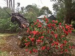 unicorn sculpture in the garden