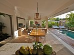 Kitchen / dinning / living area overlooking the pool