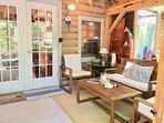 New Teak furniture to enjoy fresh breeze in a screened in porch