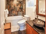 Luxury Washlet, Custom Slate Shower, Jetted Jacuzzi Bath, Granite & Teak Vanity!