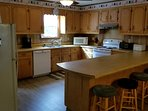 Spacious kitchen with plenty of space for serving large groups.