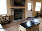 Living room with new stone fireplace