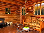 Relax next to a crackling wood fire