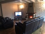 Living Room with Log Fire, Satellite TV, Blu-ray / DVD and PS3 Games Console