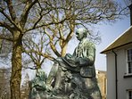 Thomas Hardy's statue sits in the market town of Dorchester, only a 10 minute drive away.
