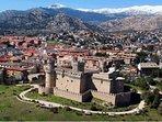 Vista aérea del castillo de los Mendoza, Manzanares eñ Real