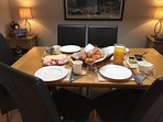 Dining room set for breakfast.