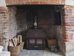 Wood burning stove for use on colder days. All wood and kindling is provided