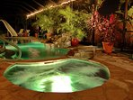 Anna Maria Island Tropical Garden Home with private waterfall pool and spa.