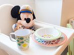 WHEN BABIES COME... high chair and set of plates