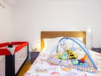 WHEN BABIES COME... crib with extra mattress, linens and duvet
