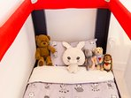 WHEN BABIES COME... travel baby bed with extra mattress, linens and duvet