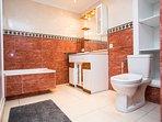 Ruime badkamer met bad, douche, wc en bidet