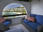 Comfortable Lounge Seating Downstairs Patio with Incredible Beach View