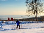 Snowshoeing on the frozen pond