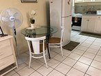 Fully equipped kitchen containing Full size fridge ,microwave , toaster ,coffee per, stove with oven