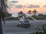 Marine helicopter at sunset