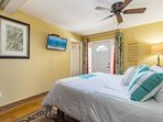 King Size Bed w/Flat Screen TV door opens to wraparound porch