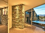 Entrance with feature schist walls