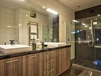 Master ensuite has large shower and twin basins
