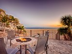 Sunset by the fire pit with alcoholic libations within reach - yes please!