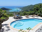 Amazing views of Coral Bay and the Caribbean Sea from the pool deck at Satinwood