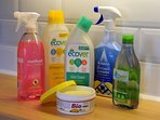 Cleaning products are eco friendly and cruelty free. We only use bleach when absolutely necessary