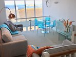 Our bright and comfortable lounge looking out over Fistral and the Headland