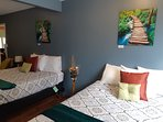 larger 2 bedroom with 2 Queen beds 1 firm and 1 soft mattress with 32' TV