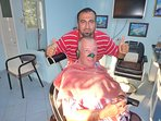 Turkish haircut and shave with hair removal by wax fron ears and nose, yes it hurts.