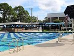 Outdoor heated Olympic size pool with diving boards. $4 day $2 seniors/children month;y passes