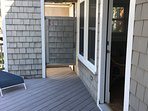 Outside shower, just off screened porch, and back sitting room