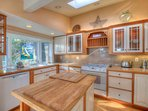 Waveside Dream, Main Kitchen -- fine detailing and everything needed to prepare a family meal.