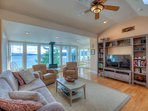 Waveside, Main Cottage:  Living Room--wall of windows with an incredible view.