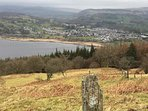 View of Lake Tegid, and Bala town from lovely walk behind the farmhouse.