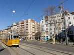 Street view with tram