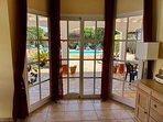 Patio Doors to Garden and Pool