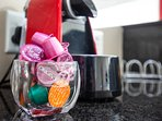 Complimentary coffee pods and machine