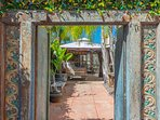 Enter through the turquoise gate for Bali Oasis