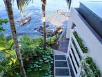 Looking down from pool deck to cove