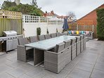 Outside dining table for 12, a gas BBQ and outdoor sofas  - we even supply outdoor blankets!