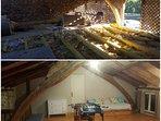 Avant et après les travaux Salle de jeu avec pan d'escalade et lit gigogne 2 places