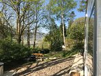 Views from the caravan door with the river Conwy in the distance.